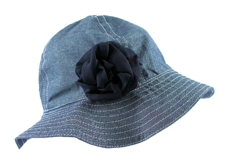 Amazon.com  Baby Girls Blue Denim Sun Hat with Chin Strap (Infant 6-18  Months)  Baby c632abe57735