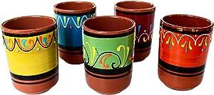 Cactus Canyon Ceramics Spanish Terracotta 5-Piece Cup Set, Multicolor