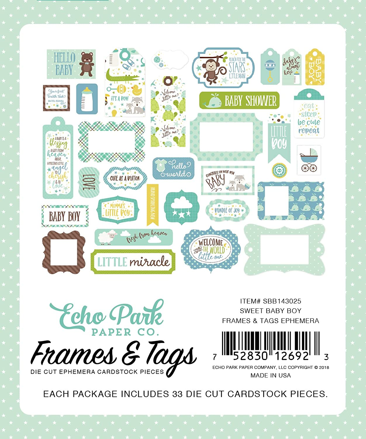 Echo Park Paper Company Sweet Baby Boy Frames /& Tags