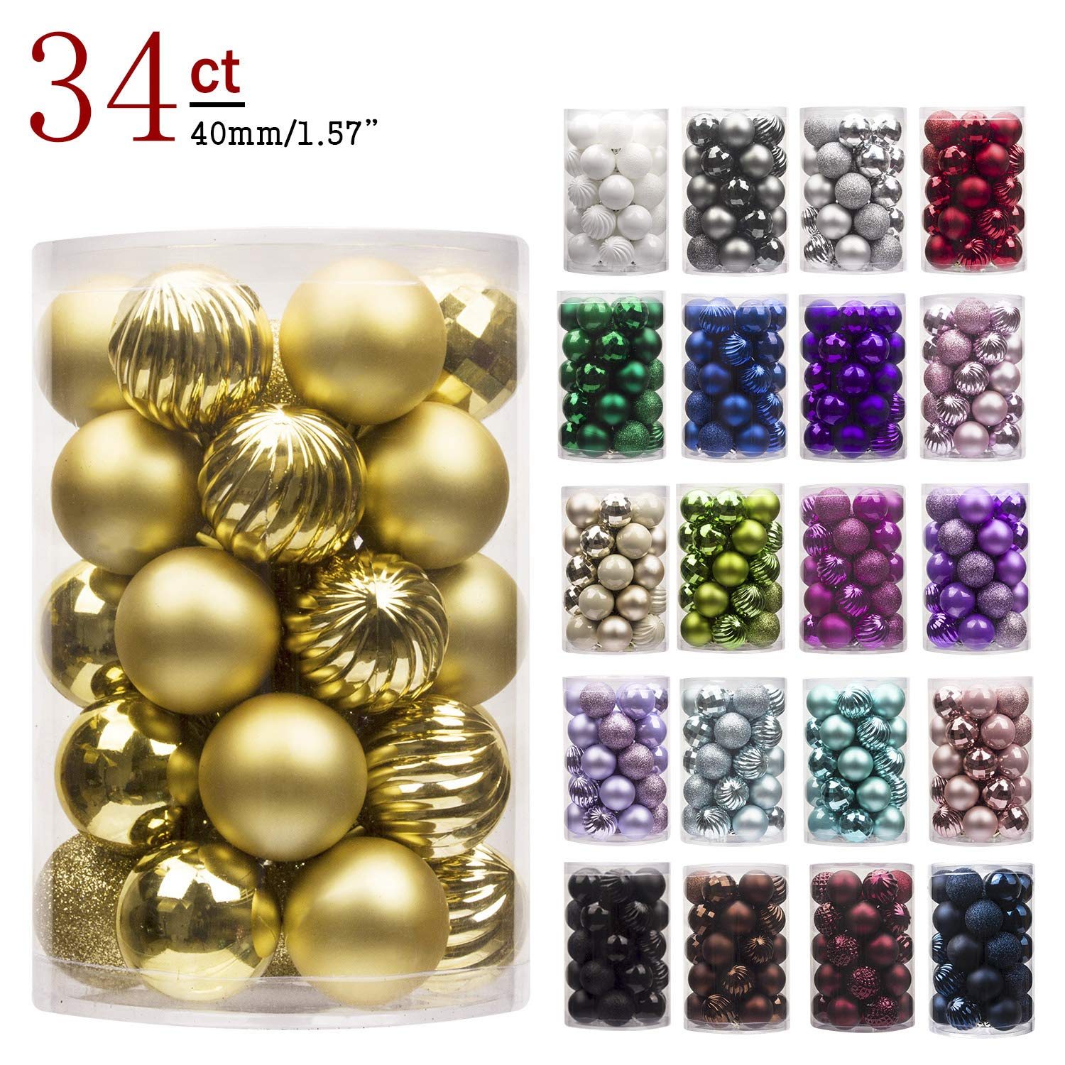 KI Store 34ct Christmas Ball Ornaments 1.57'' Small Shatterproof Christmas Decorations Tree Balls for Holiday Wedding Party Decoration, Tree Ornaments Hooks Included (40mm Gold) by KI Store