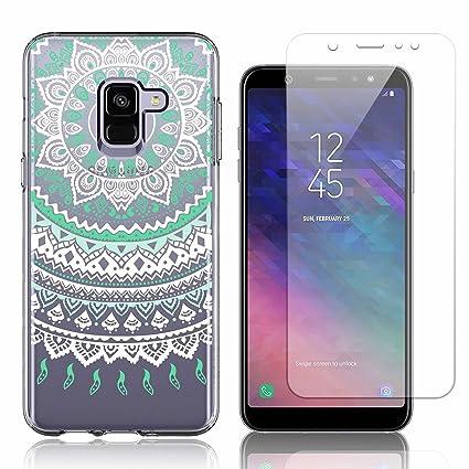 Funda Samsung Galaxy A6 2018 Atrapasueños Azul Suave TPU Silicona Anti-rasguños Protector Trasero Carcasa para Samsung Galaxy A6 2018 con Un Protector ...