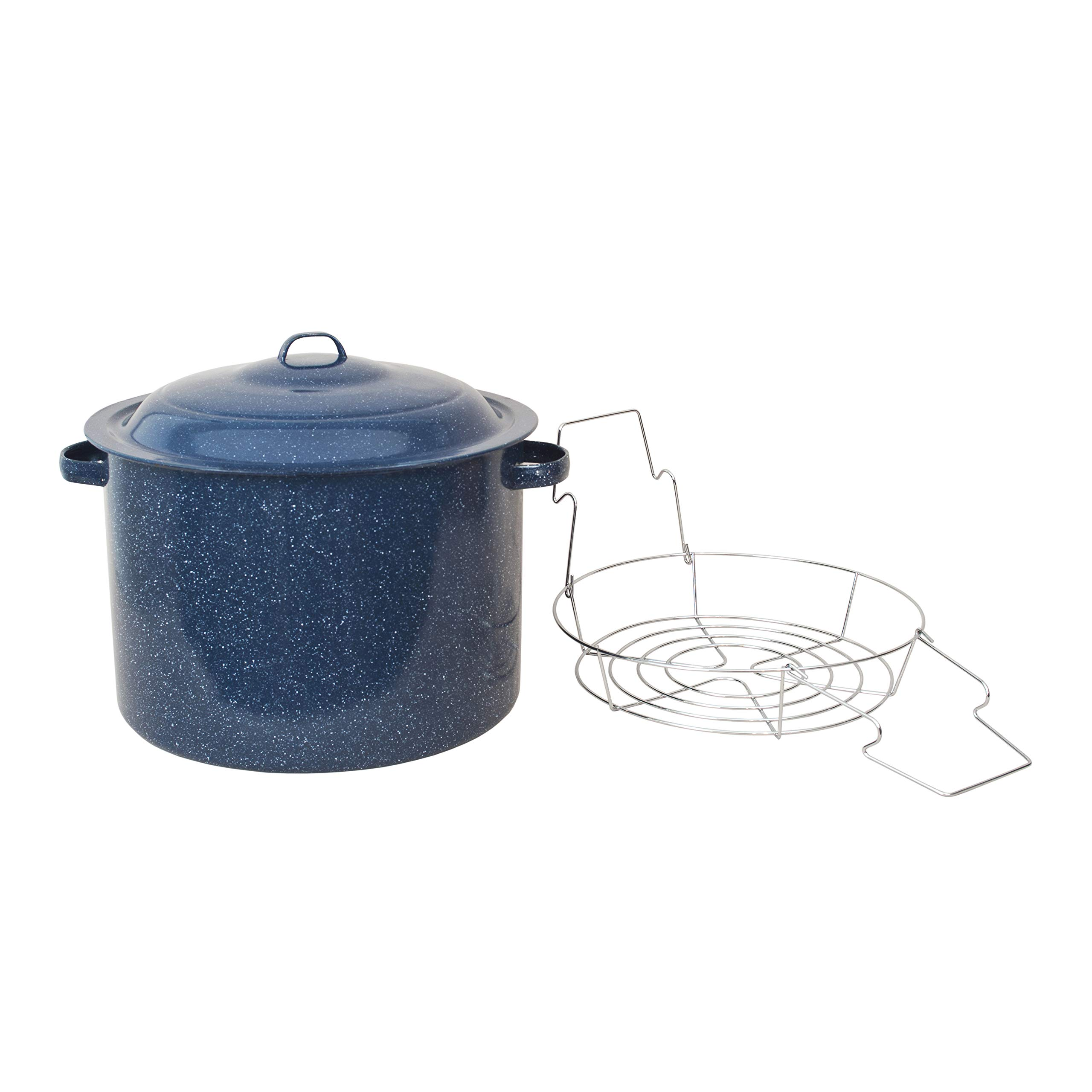 Granite Ware High Capacity Enamel on Steel Water Bath Canner with Chrome Jar Rack, Blue by Granite Ware