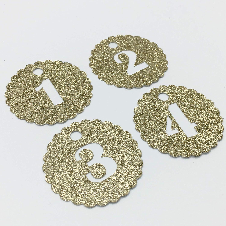 24 Adventskalender Zahlen Anh/änger Adventskalenderzahlen Kreis gezahnt GLITTER GOLD zum Anh/ängen 1-24 Countdown-Adventskalender AniPolDesign made in Germany