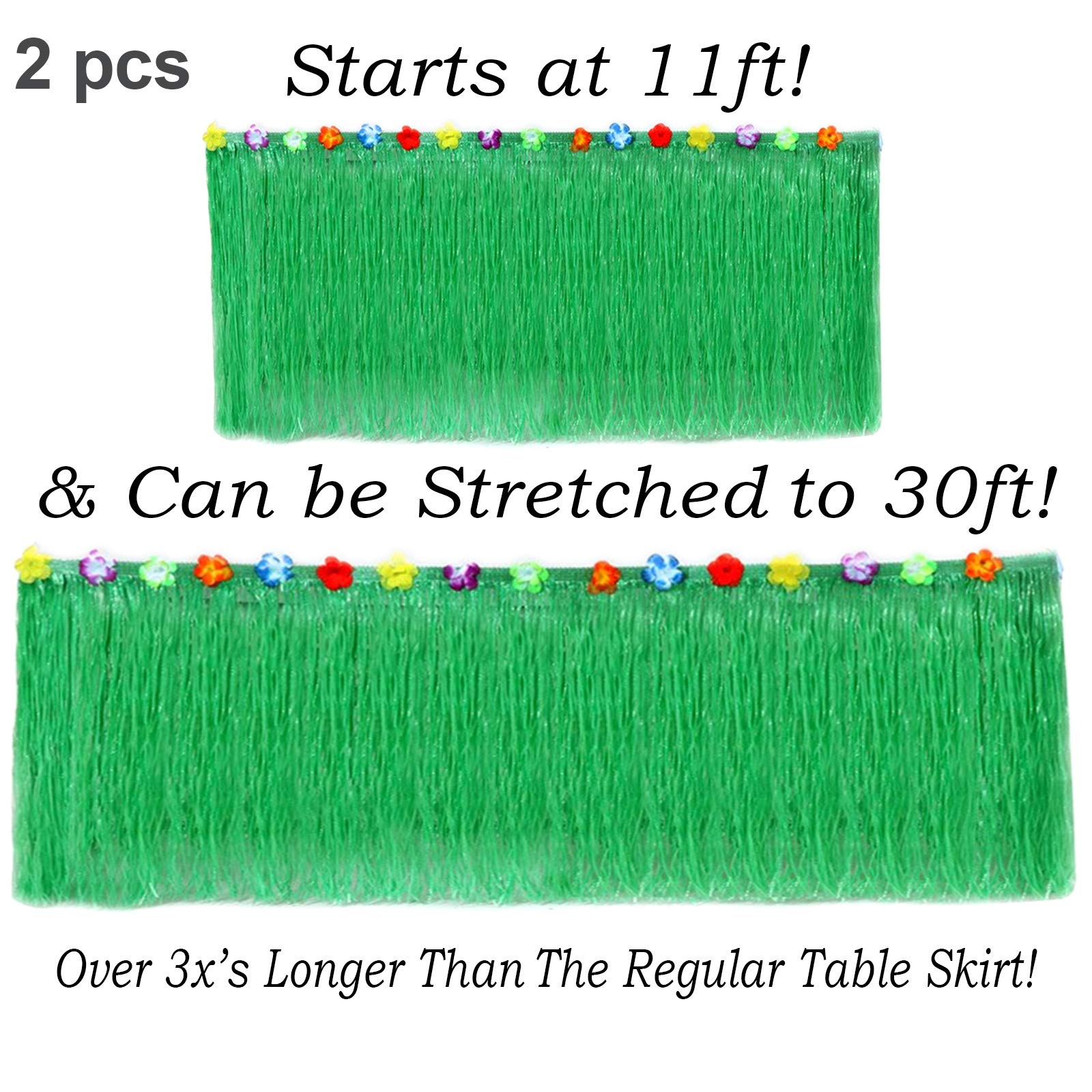 Hawaiian Table Skirt 11ft Long Stretches to 30ft! | (29'' Tall) Green Hibiscus Luau Party Decoration | Tropical Theme Decor (2 Table Skirts)