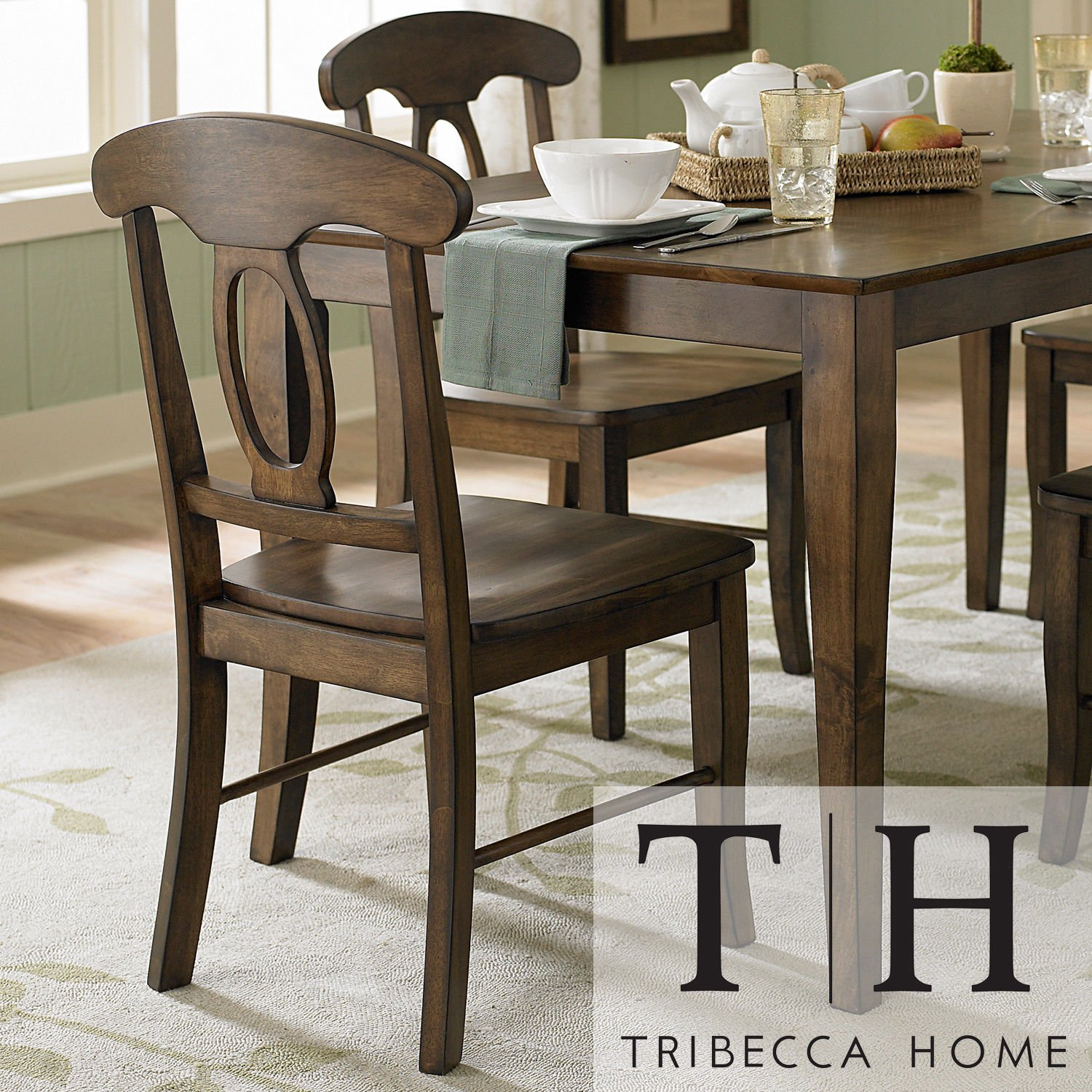 Amazon.com: Metro Shop TRIBECCA HOME Barnet Walnut Napoleon Casual Side  Chair (Set Of 2): Kitchen U0026 Dining
