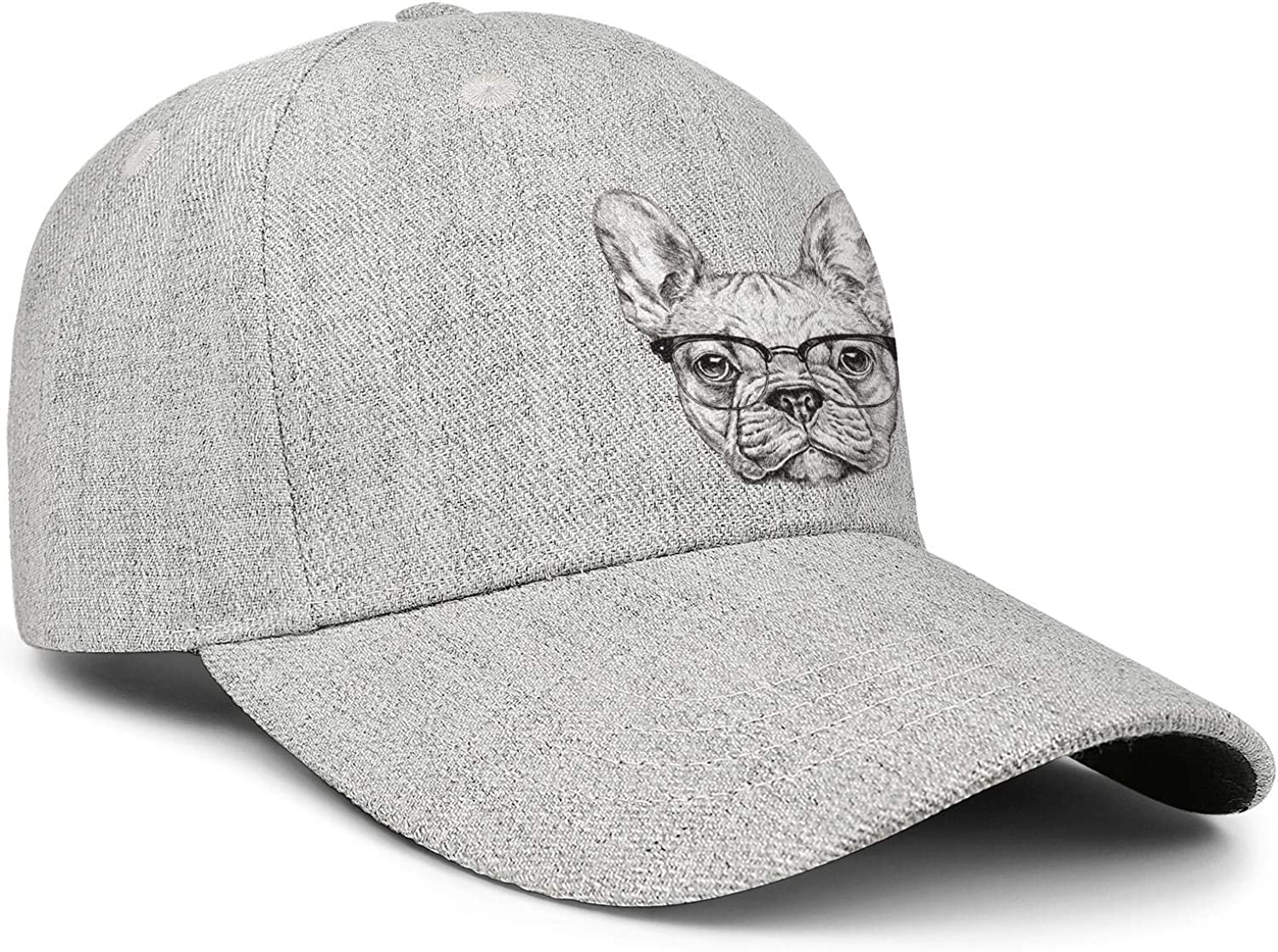 Hipster Geek French Bulldog with Glasses Unisex Baseball Cap Outdoor Fishing Hats Adjustable Trucker Caps Dad-Hat