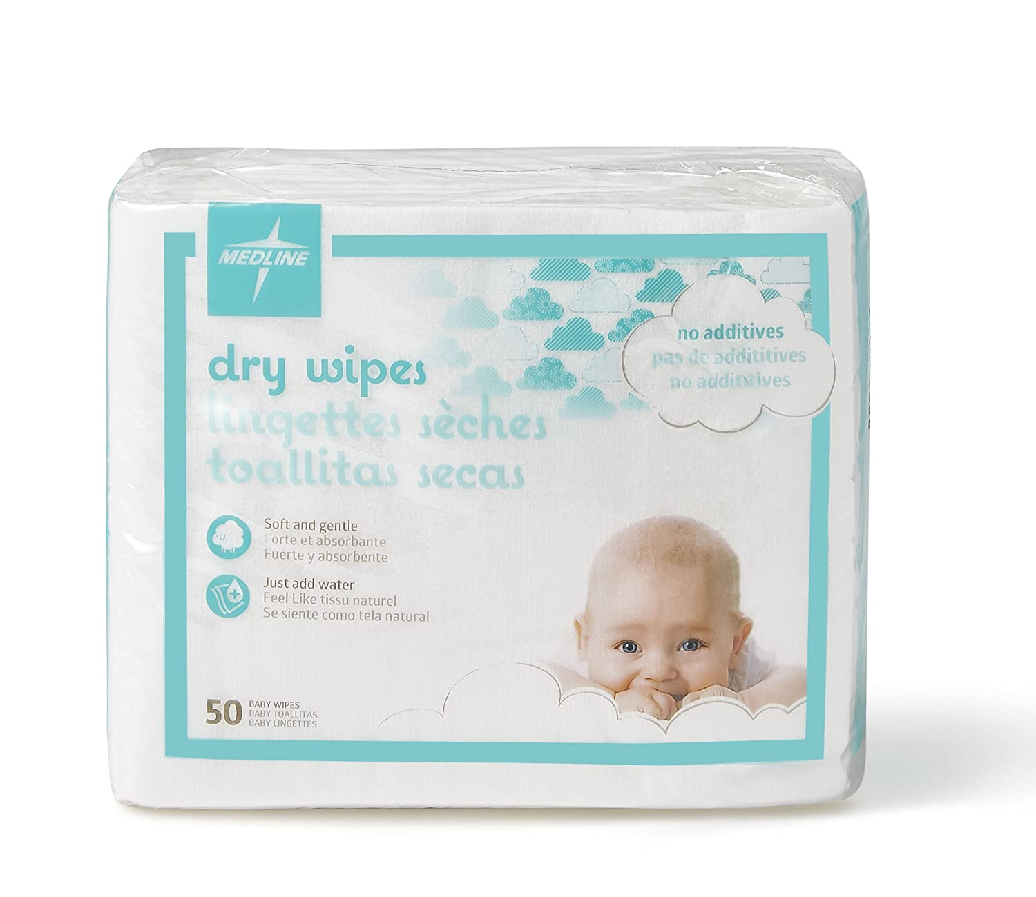 Amazon.com: Medline Babysoft for Sensitive Skin Disposable Dry Wipes Cleansing Cloths, (Pack of 50): Industrial & Scientific
