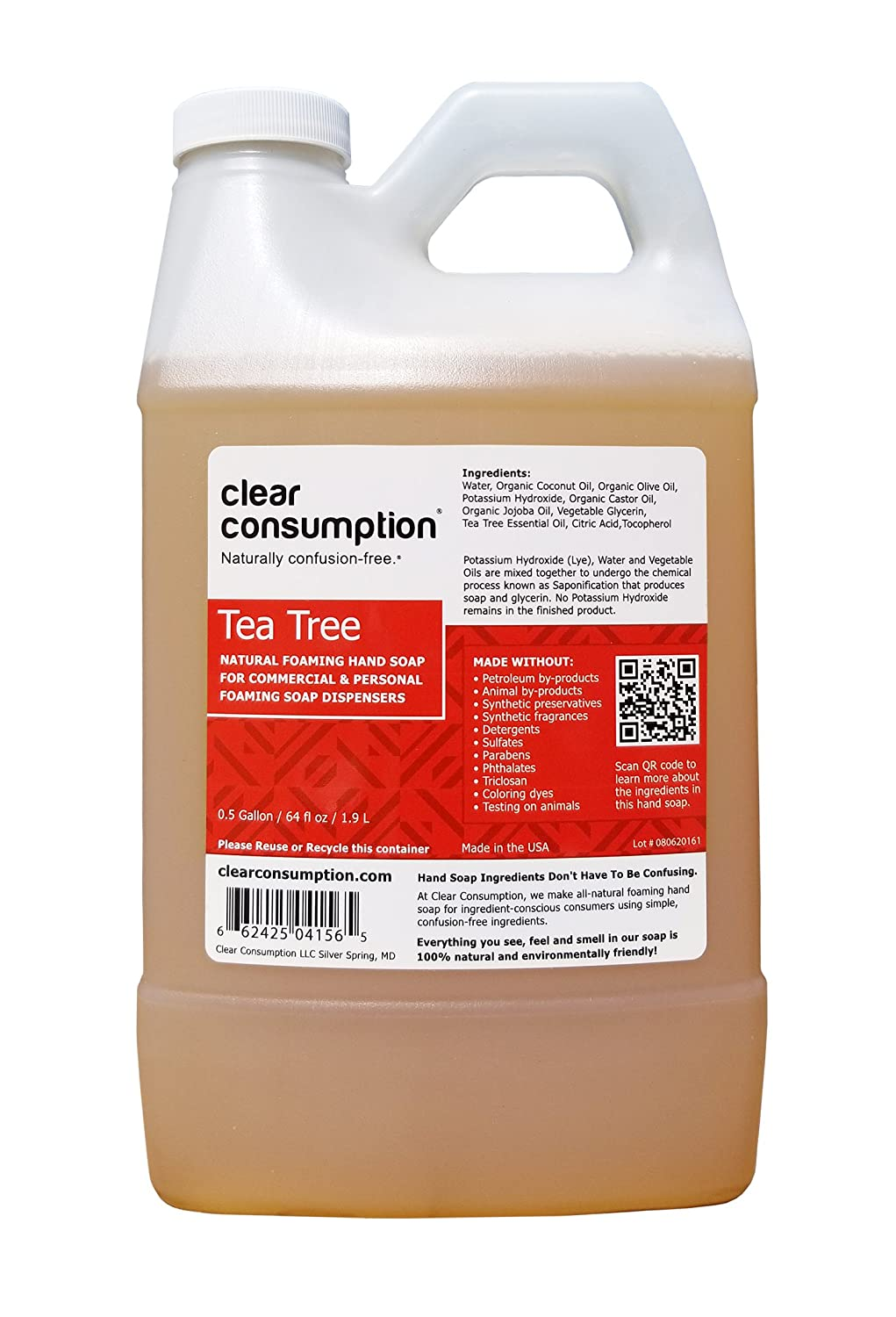 Clear Consumption Natural Tea Tree Foaming Hand Soap Refill 1/2 Gallon (64 oz) - Made from USDA Organic Vegetable Oils - For Commercial & Personal Foaming Soap Dispensers