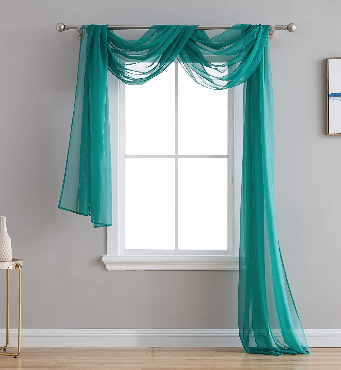 """HLC.ME Grey Teal Sheer Voile Window Curtain Swag Scarf - Valance - Fully Stitched & Hemmed - 55"""" x 216"""" Inch Long"""