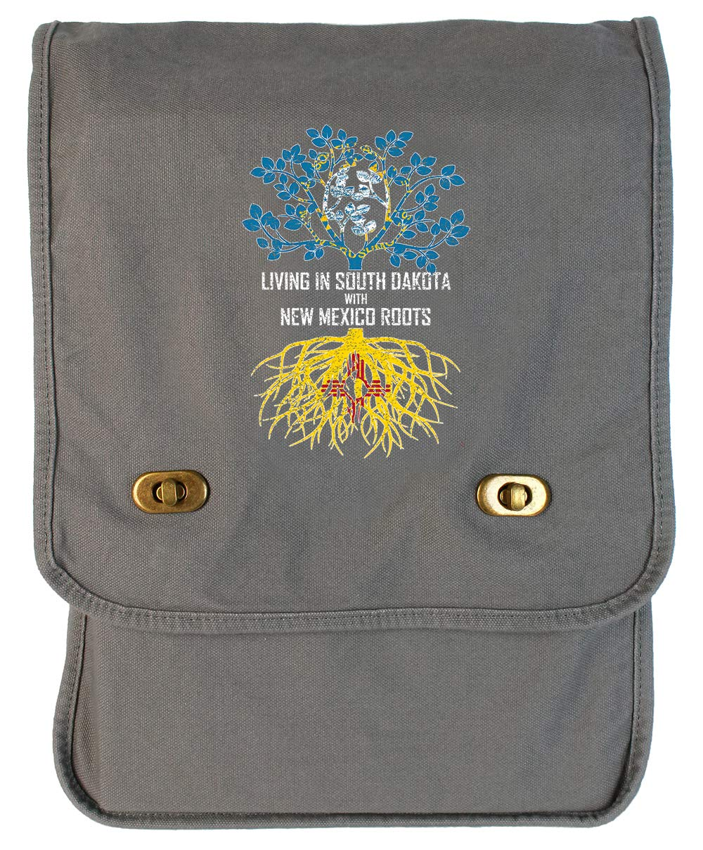 Tenacitee Living In South Dakota with New Mexico Roots Grey Brushed Canvas Messenger Bag