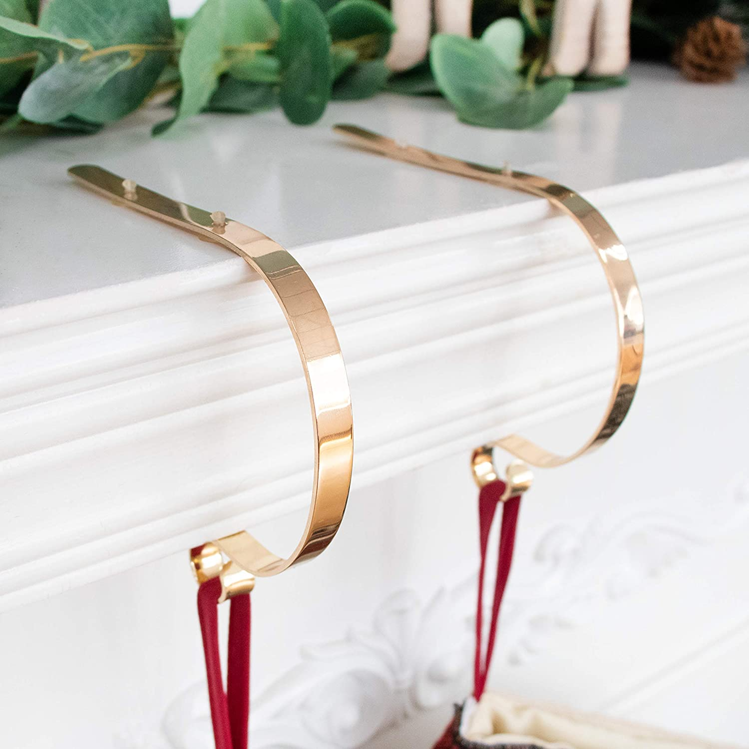 Beyond Your Thoughts Set of 2 Metal Christmas Stocking Holder Hooks Fireplace Hanger with Non-Skid Design Gold 2 Pack S