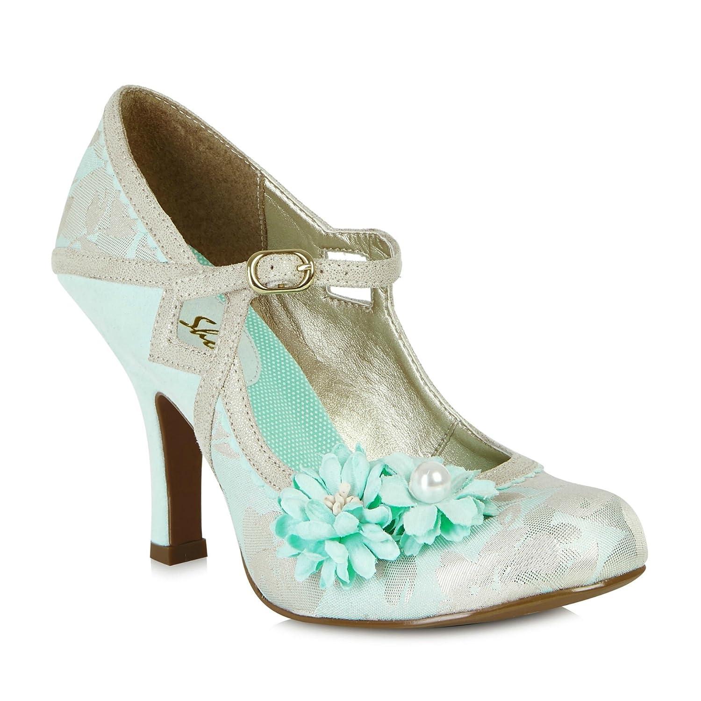 Ruby Shoo Damen Pumps Yasmin Vintage Riemchen High Heels Geschlossen Mintfarben / Creme