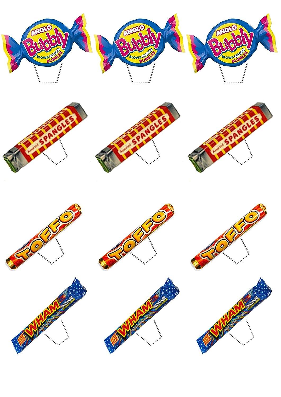 Retro Dulces 70s y 80s Mix, decoración para tartas stand-up oblea comestible cupcake toppers, 12 unidades: Amazon.es: Hogar