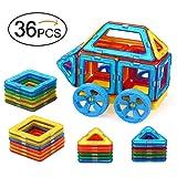 Quadpro 36 Piece Magnet Tiles Magnetic Building Blocks for Kids, Standard Set with Wheel