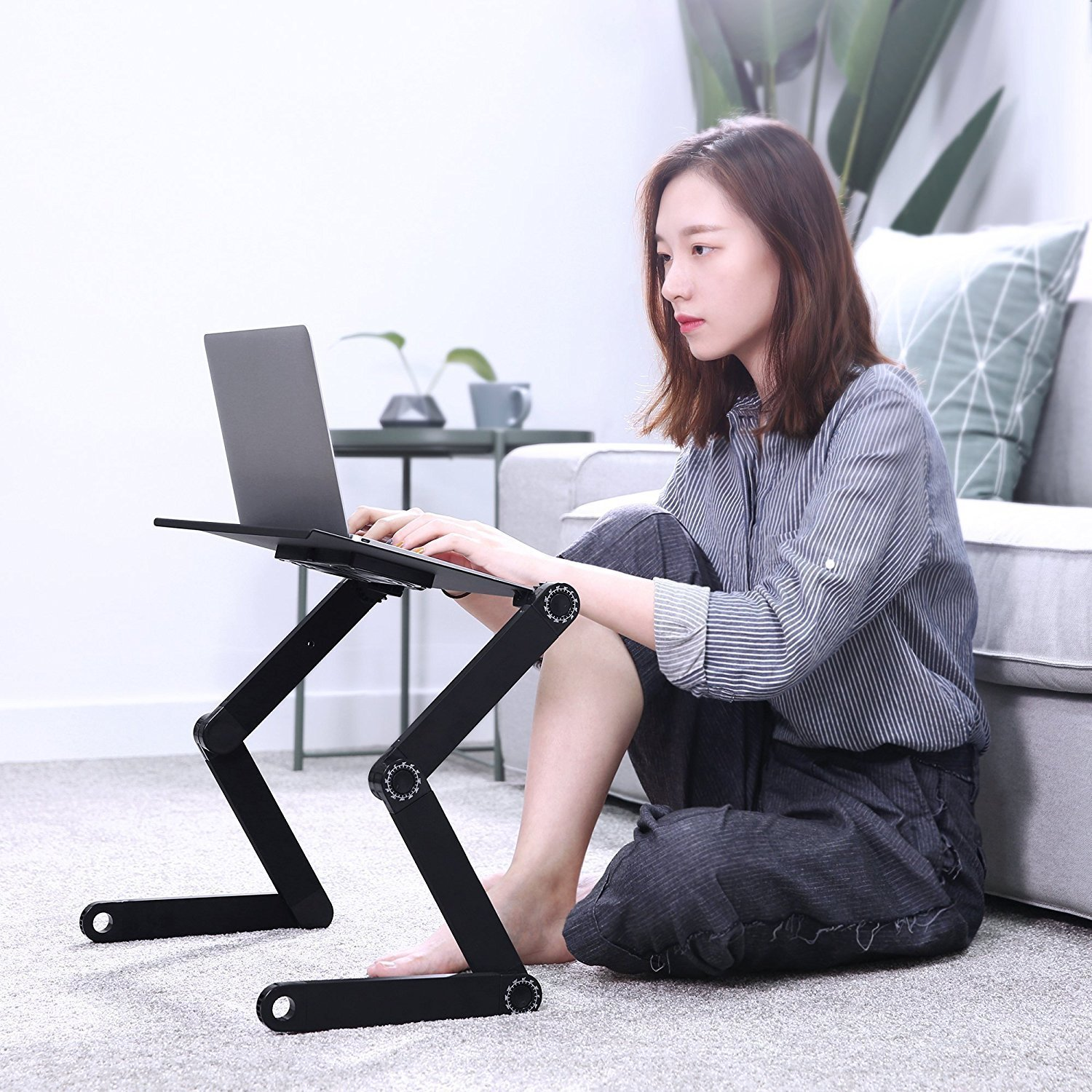 Portable Laptop Stand, Cozy Aluminum Vented Lap Workstation Desk with Mouse Pad, Foldable Book Reading Stand Notebook Tablet Holder on Sofa, Adjustable Bed Table Tray, 2 CPU Cooling Fans, Black