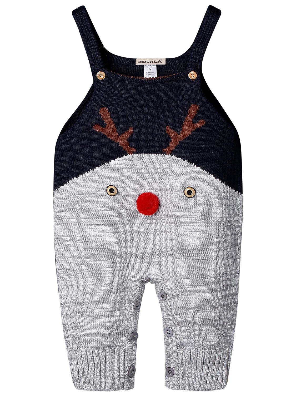 Zoerea Unisex Baby Latzhose Romper Bib Pants Outfits Hosenträger Gestrickt Weihnachten Hirsch Schultergurt Baumwoll Sweatshirt Baby Kinder Overalls für 6-24 Monate Z033-Z299