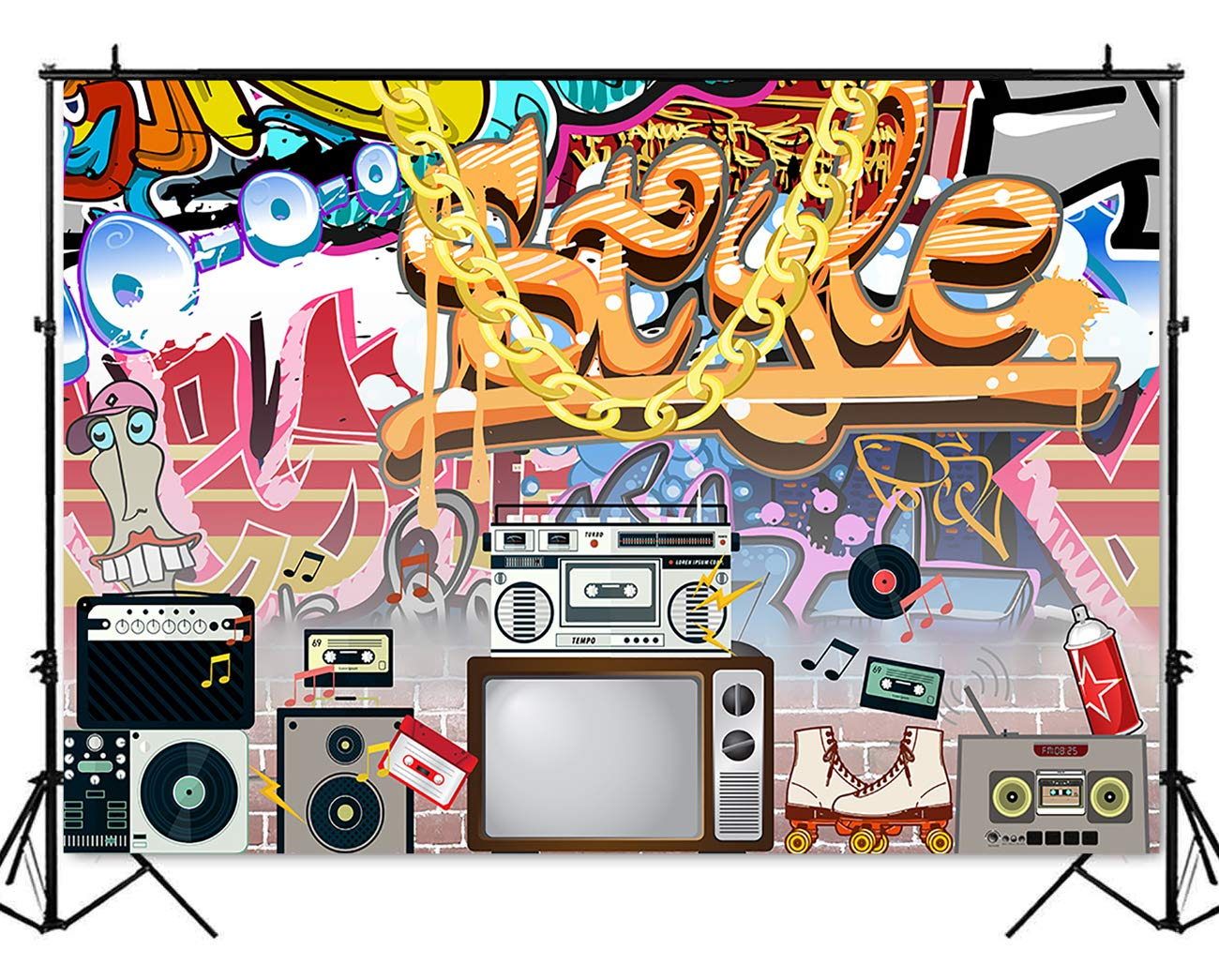 Mehofoto Hip Pop 80s 90s Backdrop Graffiti Rock Radio Photography  Background 7x5ft Vinyl Vintage 90's 80's Themed Party Decoration Backdrops  Banner