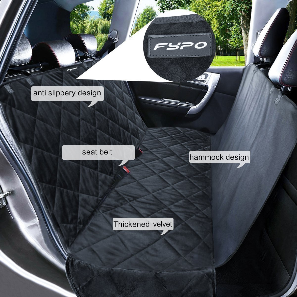 Fypo Dog Car Seat Cover Waterproof Pet Car Hammock with Soft Velvet 65 x 55 Scratch-proof and Non-slip Backseat Protector for Cars//Trucks//SUV