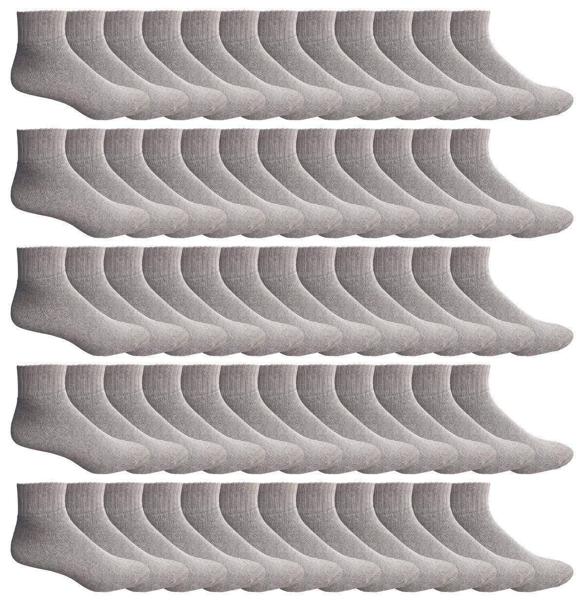 WSD Mens Ankle Socks, Wholesale Bulk Pack Athletic Sports Sock (180 Pairs Gray)