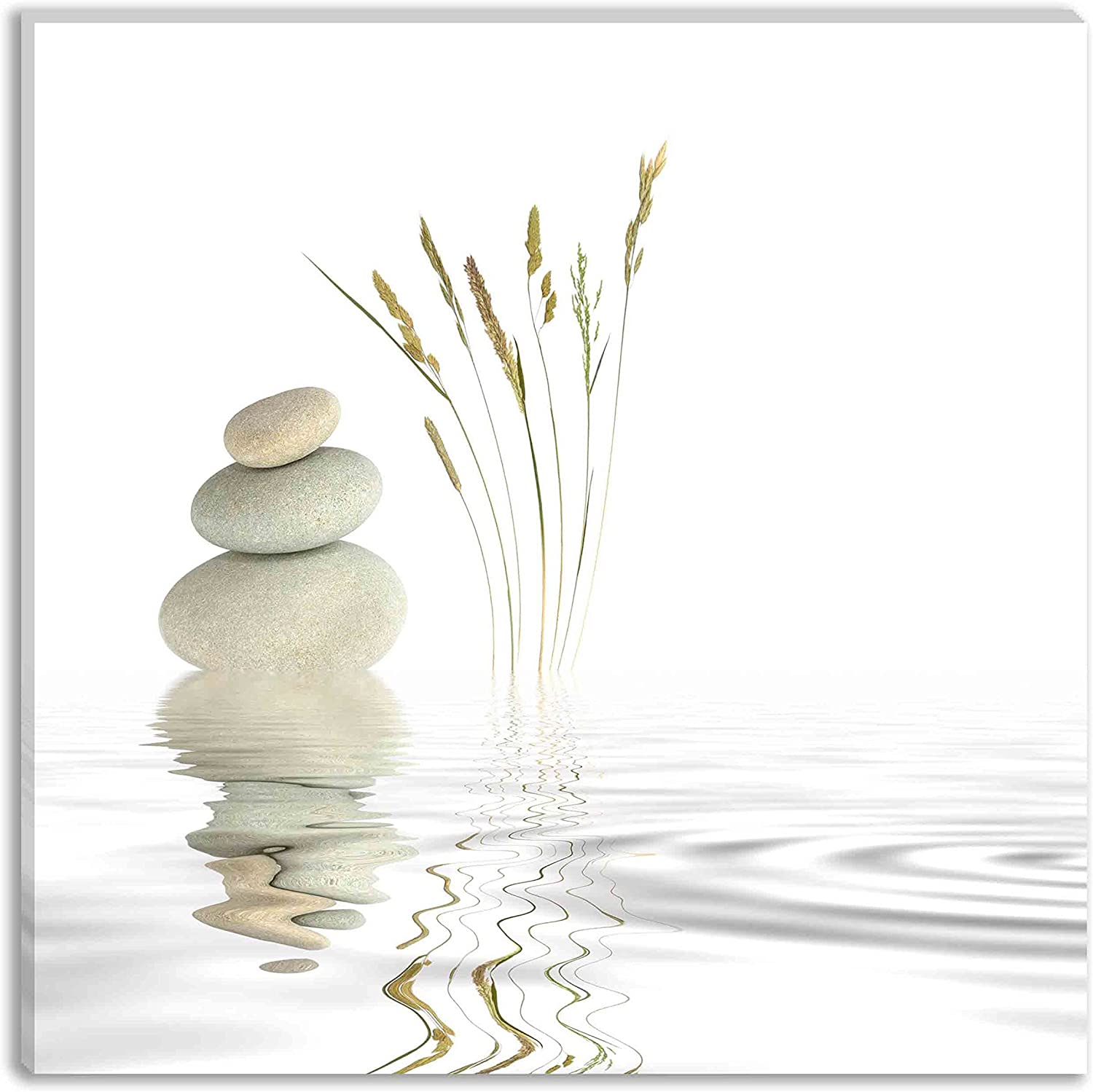 yuanclllp - Still Life Wall Art Decor Zen Garden Abstract of Spa Stones Natural Wild Grasses and Reflection in Rippled Grey Water Picture Print on Canvas for Modern Home Decoration