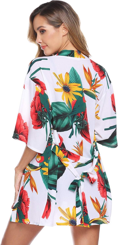 Manga 3//4 Batas de Kimono Sueltas Ligeras Estilo Boho Chaqueta de Rebeca Delantera Abierta Hawiton Mujer C/árdigan Kimono Florales