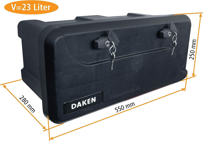 Daken B23-1 Deichselbox mit Schloss Werkzeugkasten f/ür Anh/änger Staukiste 23 ltr Anh/ängerbox