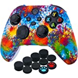 YoRHa Transer Printing Silicone Thickened Cover Skin Case for Xbox Series X/S Controller x 1(Spashing Paint) with Thumb Grips