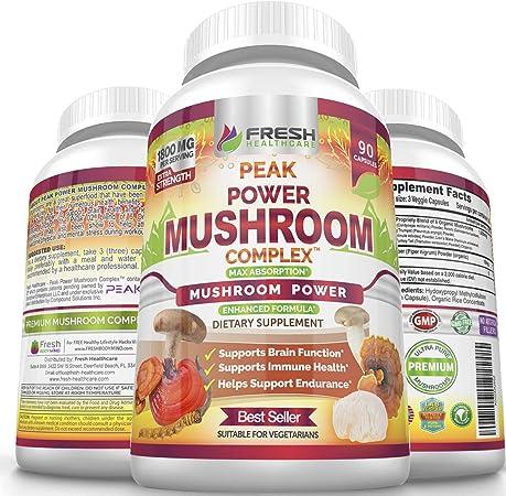 Peak Power Mushroom Supplement - Immune, Brain, Focus and Wellness Support - 6 Premium Mushroom Blend with Lions Mane, Cordyceps, Reishi, Turkey Tail, and Shiitake Mushrooms - 90 Vegan Power Capsules