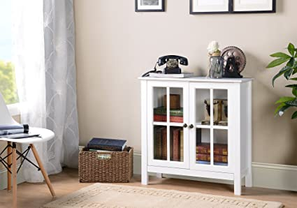 American Furniture Classics OS Home And Office Glass Door Accent And  Display Cabinet, White