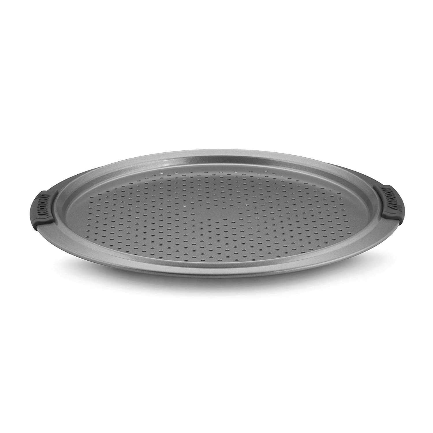Anolon Advanced Nonstick Bakeware 13-Inch Pizza Crisper, Gray with Silicone Grips 54716