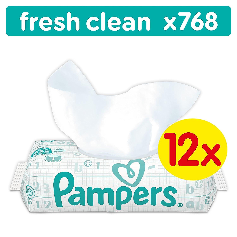 Pampers Fresh Clean Feuchttücher, 768 Tücher, 12er Pack (12 x 64 Stück) 768 Tücher Procter & Gamble 422723