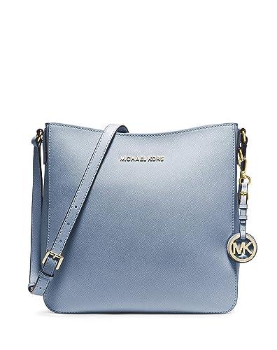6acb4fa164fa51 Amazon.com: Michael Kors Jet Set Travel Large Saffiano Messenger Bag PALE  BLUE: Shoes