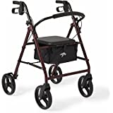 Medline Standard Adult Steel Folding Rollator Walker Aid with 8 Inch Wheels, Red