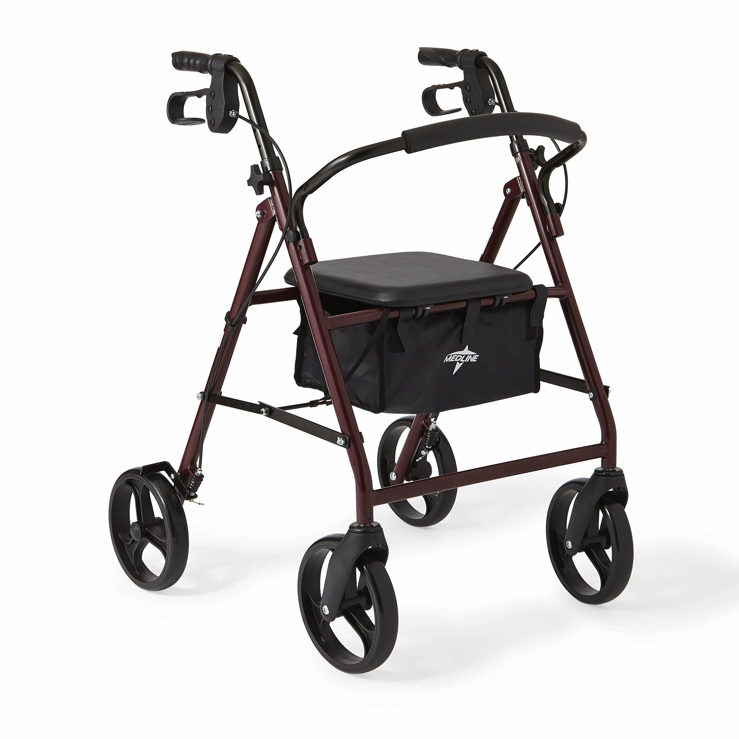 Medline Standard Adult Steel Folding Rollator Walker Aid with 8 Inch Wheels, Burgundy