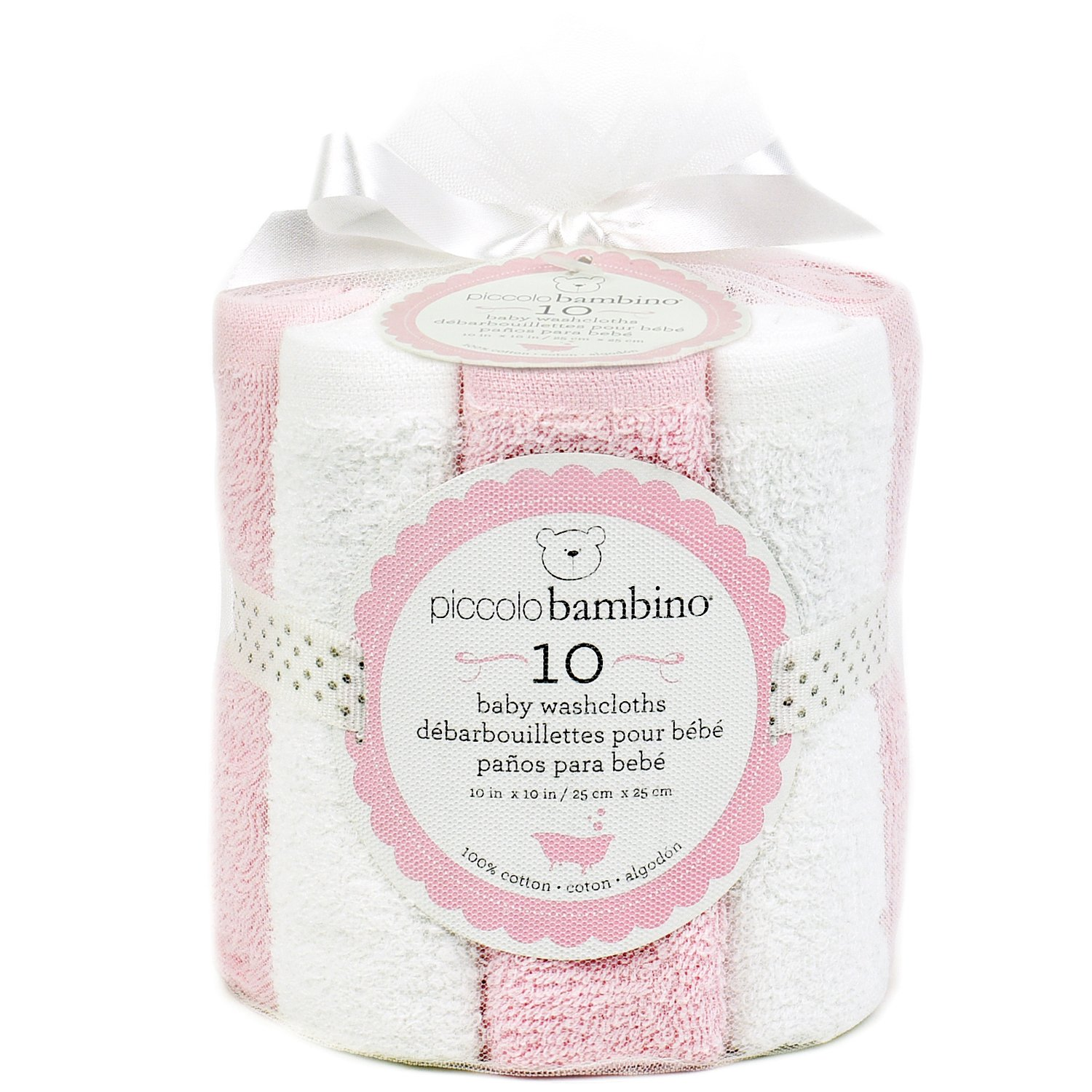Piccolo Bambino - 10 Pack Luxury Washcloths in Mesh Bag, Grey and White Abond Group Inc.