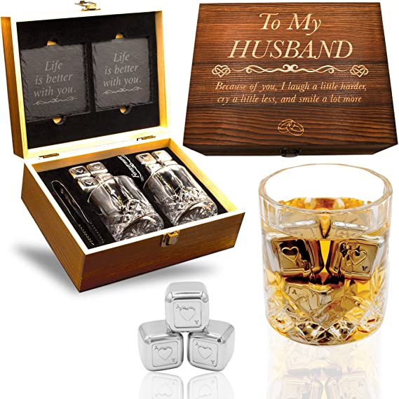 Wooden Engraved Whiskey Glass Set