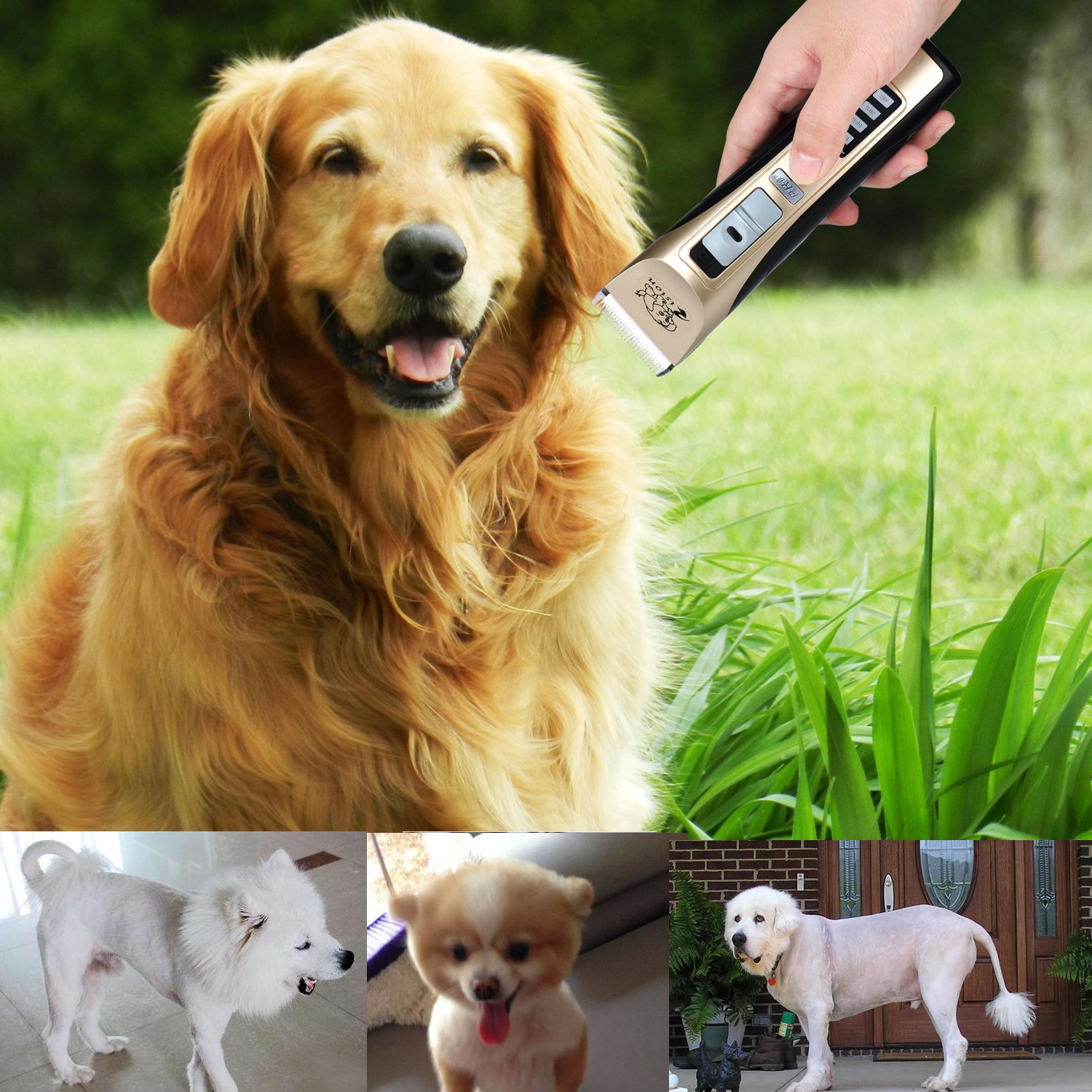 Pet Clippers, Rision Low Noise Rechargeable Cordless Dog Trimmers Professional Animal Grooming Shavers for Thick Hair Dogs, Cats, Rabbits and Horses by Rision (Image #2)