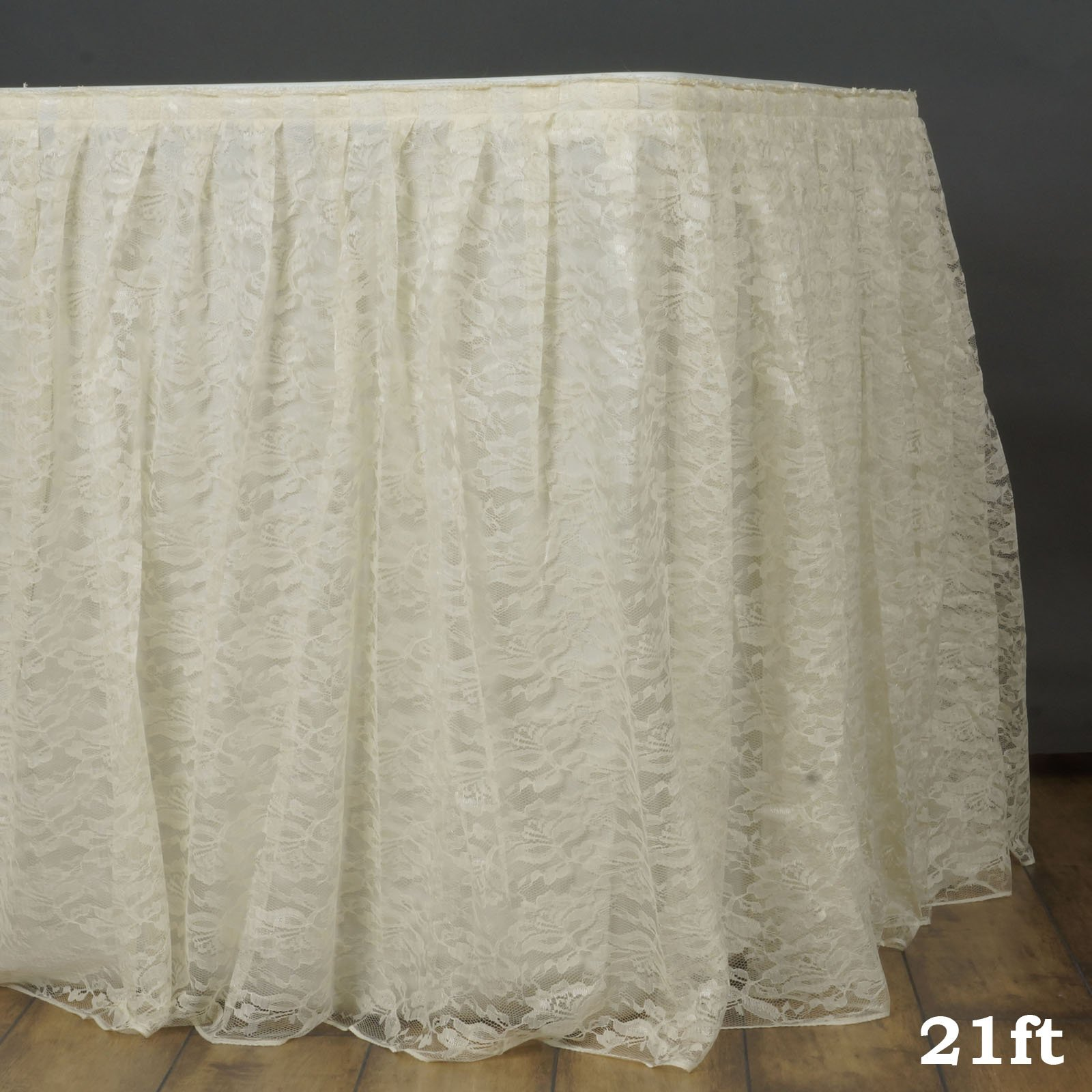 Efavormart Ivory Dual Layer Lace Polyester Table Skirt for Kitchen Dining Catering Wedding Birthday Party Decorations Events 21FT