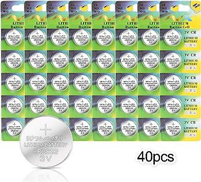 40 Pack] Pila de Botón Litio IDESION Batería de Botón Puro Pack de Pilas de Litio CR-2032 3V 240mAh Luces LED, Relojes, Control Remoto, Libro Electrónico, Cámara, etc: Amazon.es: Electrónica