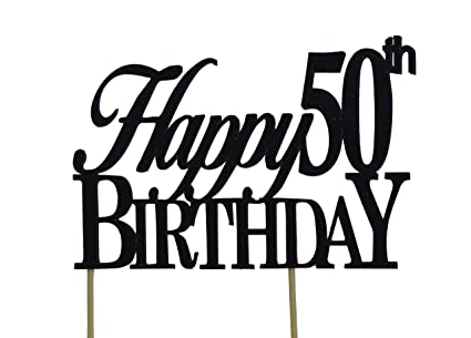 Amazoncom Black Happy 50th Birthday Cake Topper Kitchen Dining