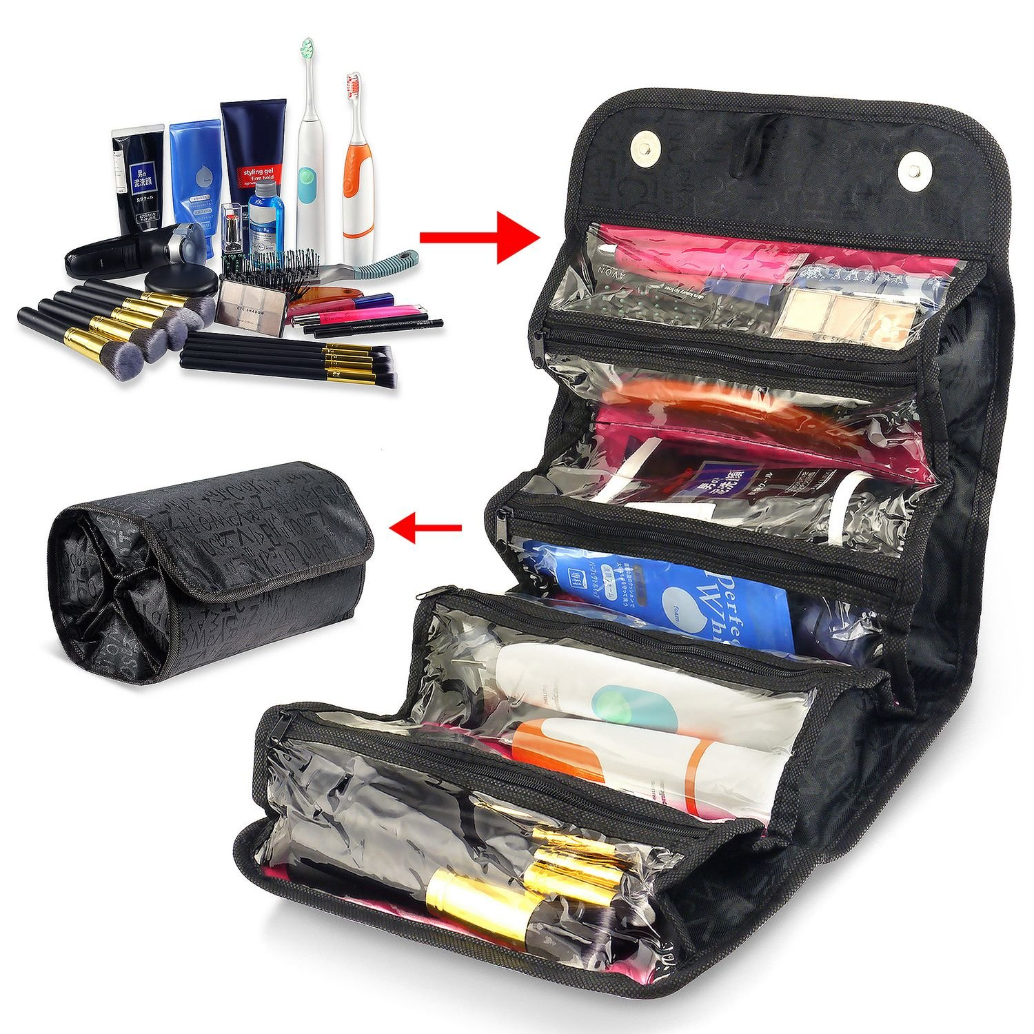 Zodaca 4 Zippered Compartment Roll Up Bathroom Organizer Cosmetic Travel Bag, Black eForCity 2122562