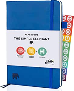 Simple Elephant Undated Planner 2021-2022 - Daily, Weekly, Monthly Planner & Notebook - High Performance Organizer for Productivity, Gratitude, and Focus - Journal & Agenda (Blue)