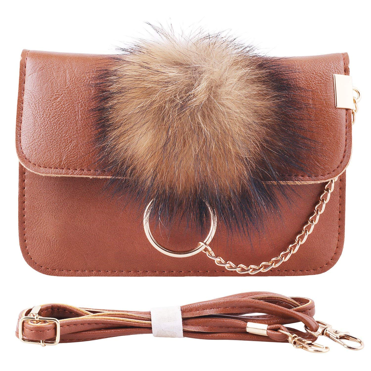 Cross Bag for Women, PU Leather Cell Phone Bag with Plush Ball Accessories Shoulder Bag Wallet for Girls
