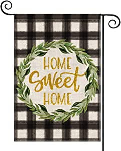 AVOIN Watercolor Buffalo Check Plaid Garden Flag Vertical Double Sided, Laurel Wreath Home Sweet Home Rustic Farmhouse Flag Yard Outdoor Decoration 12.5 x 18 Inch