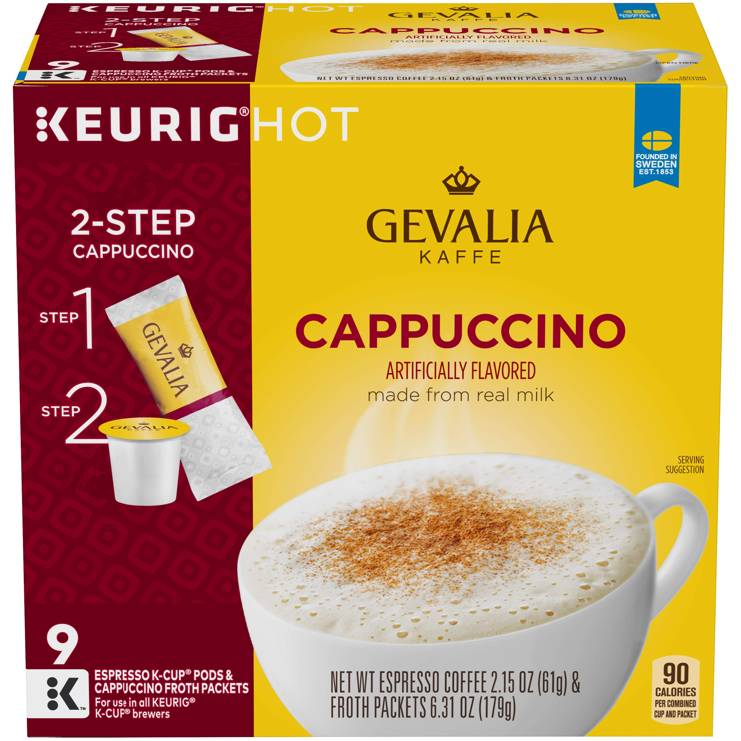 Gevalia Cappuccino Keurig K Cup Pods with Froth Packets (36 Count, 4 Boxes of 9) by Gevalia