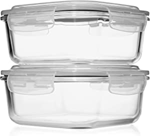 2 LARGE 1200ML / 42 Oz Glass Food Storage Containers w/Airtight Lids - Microwave/Oven/Freezer & Dishwasher Safe - BPA/PVC Free + Leak Proof - Ideal for Baking & Storing food. Keeps Food Fresh longer