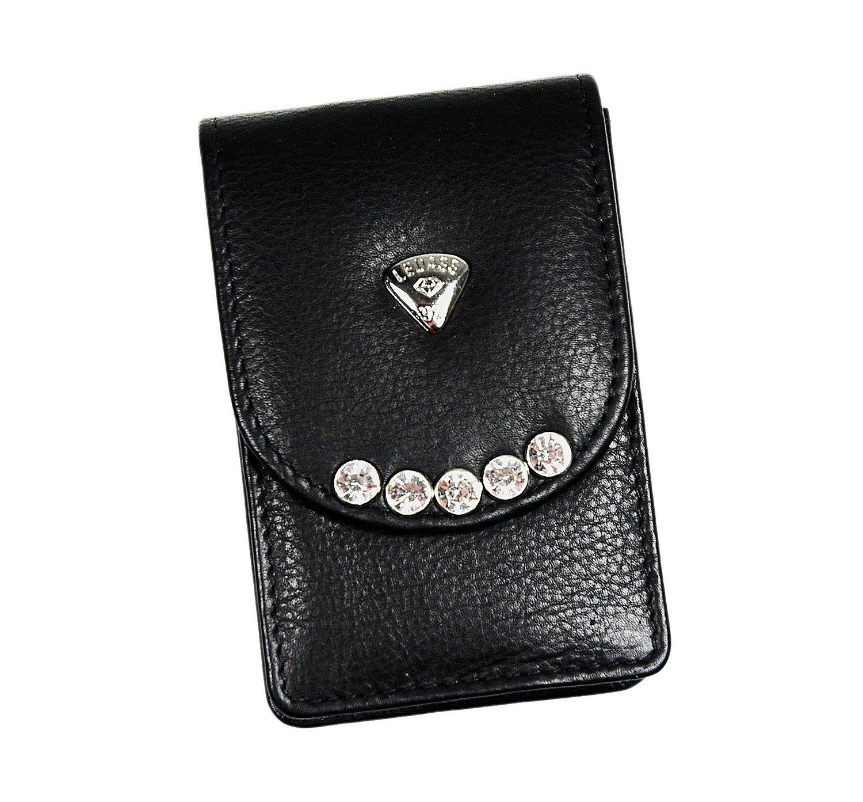 Ledass92 Zigarettenetui Zigarettenbox mit Exklusiven Strass Steinen Magnetverschluss aus echtem Leder ledas92zig4
