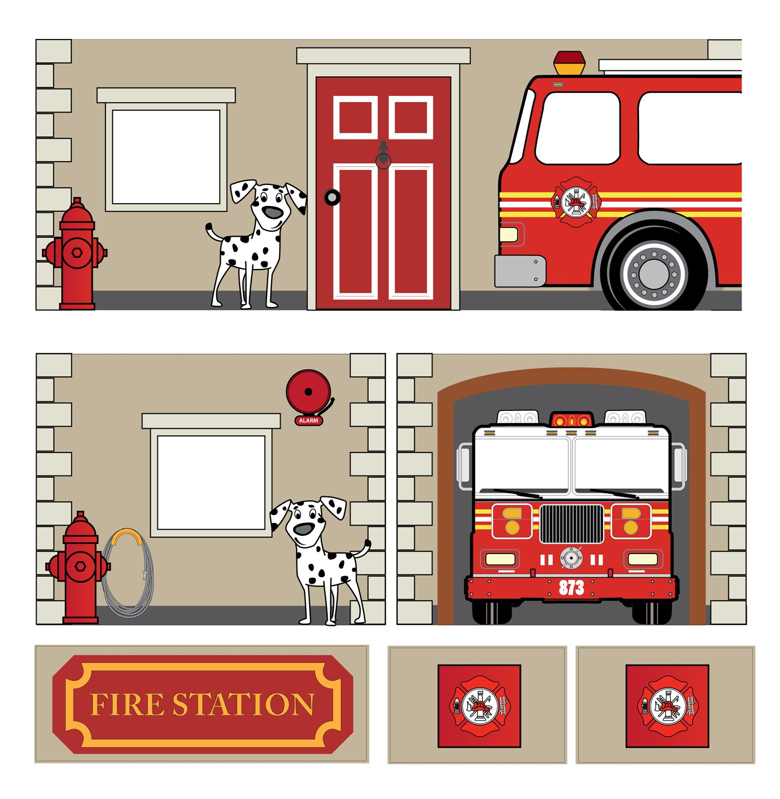 DHP Fire Department Design Curtain Set for Junior Loft Bed, Kids Furniture, Blue by DHP