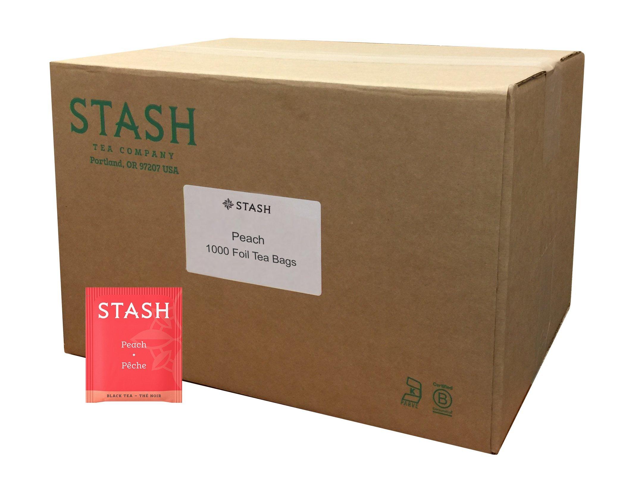 Stash Tea Peach Black Tea 1000 Tea Bags in Foil Individual Black Tea Bags for Use in Teapots Mugs or Cups, Brew Hot Tea or Iced Tea