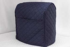 Simple Home Inspirations 2 Pocket Double Faced Cotton Quilted Cover Compatible with KitchenAid Mixer, Lift Bowl, Navy